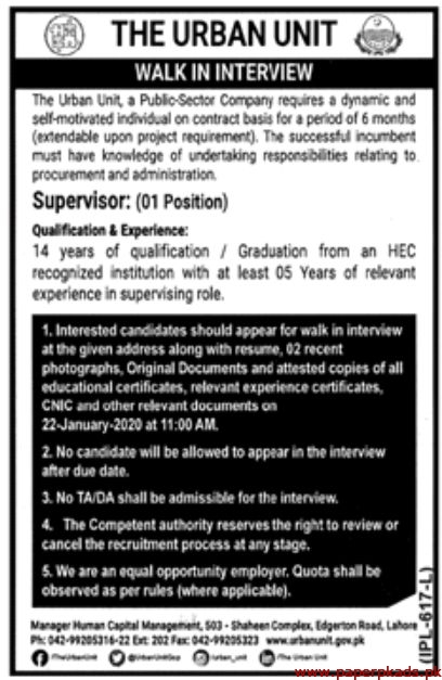 Public Sector Company The Urban Unit Jobs 2020 for Supervisor at Lahore Latest