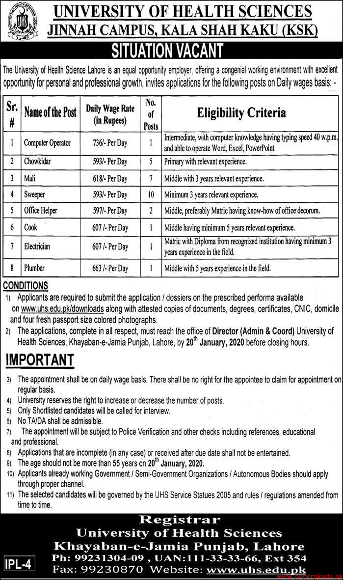 University of Health Sciences Jobs 2020 Latest