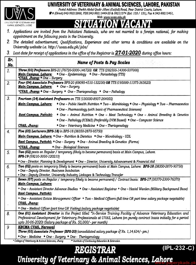 University of Veterinary & Animal Sciences Lahore Jobs 2020 Latest