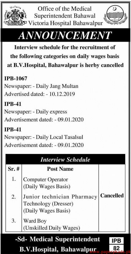 Victoria Hospital Bahawalpur Jobs 2020 Latest