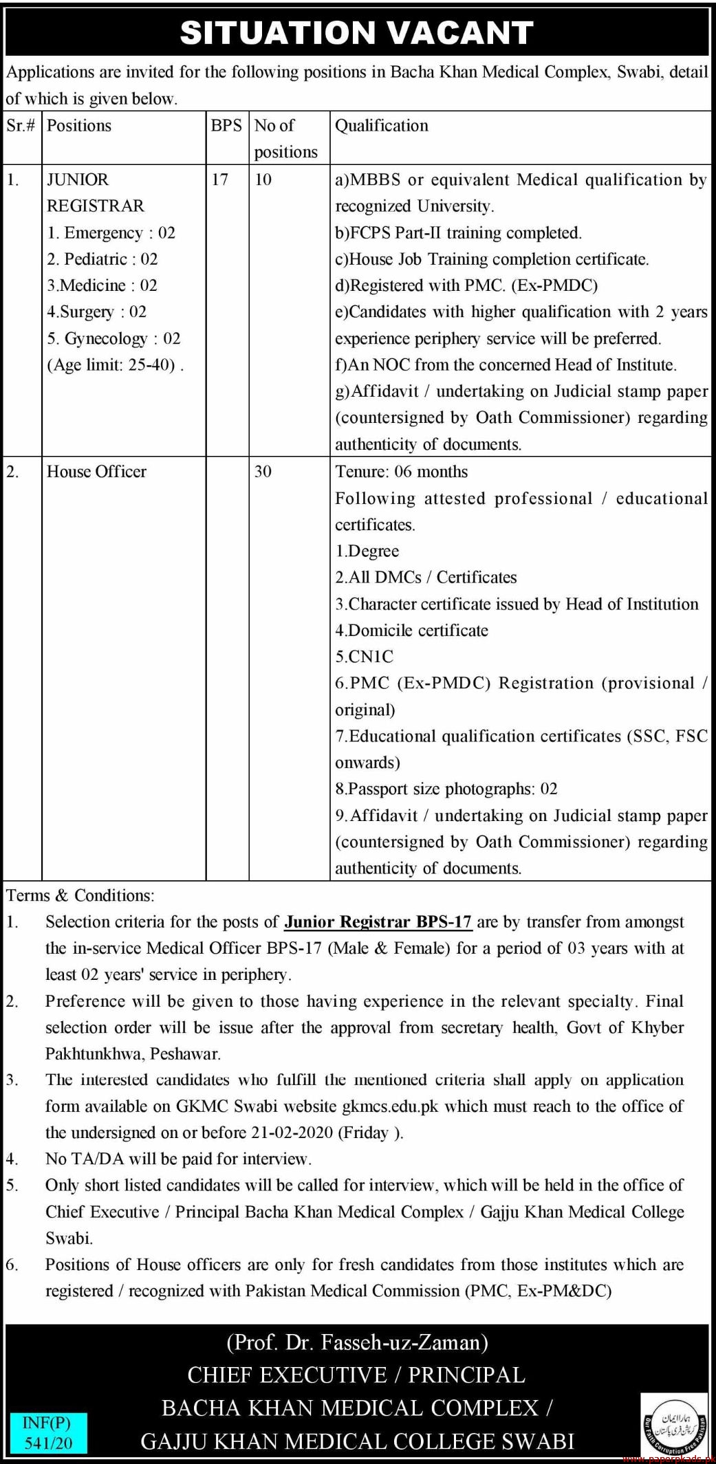 Bacha Khan Medical Complex Jobs 2020 Latest