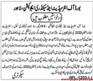 Board of Intermediate and Secondary Education BISE Lahore Jobs 2020 Latest