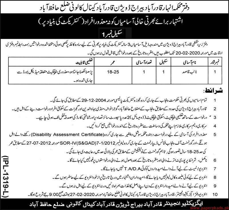Canal Division Hafizabad Jobs 2020 Latest