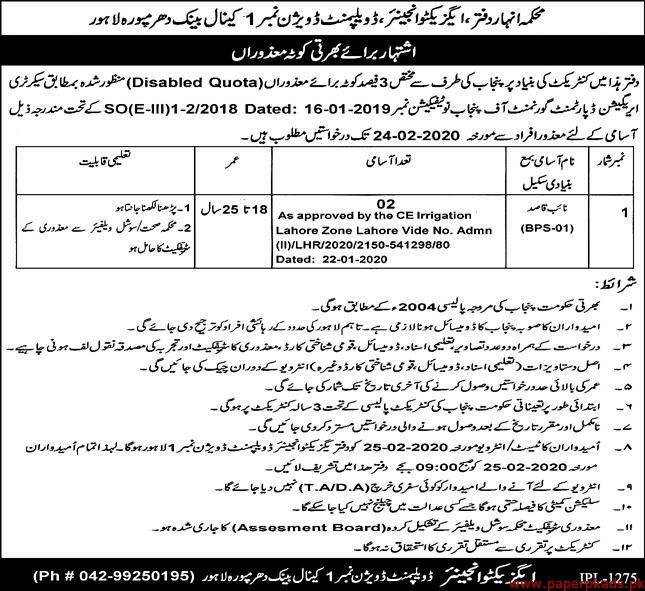 Canal Division Lahore Jobs 2020 Latest