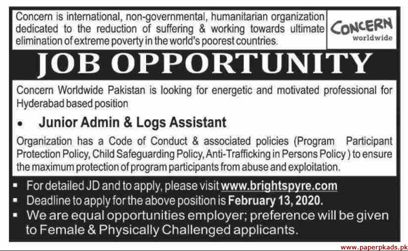 Concern International Non Governmental Humanitarian Organization Jobs 2020 Latest
