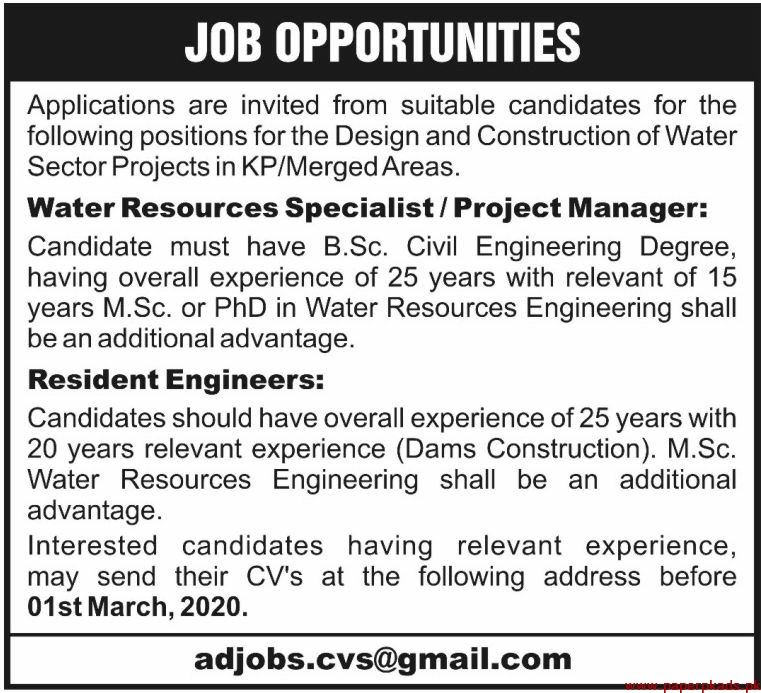 Design and Construction of Water Sector Project Jobs 2020 Latest