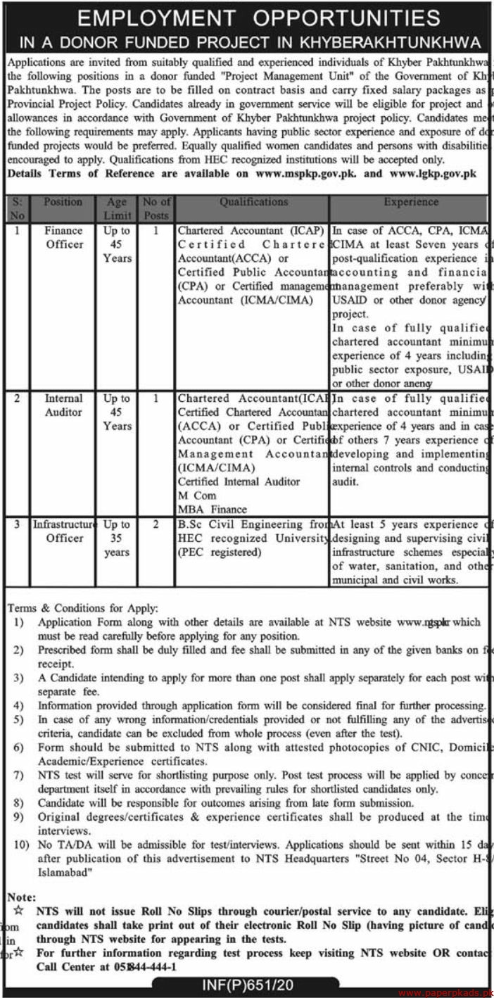 Donor Funded Project Khyber Pakhtunkhwa Jobs 2020 Latest