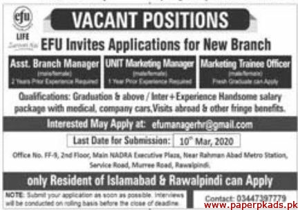 EFU Life Insurance Jobs 2020 Latest