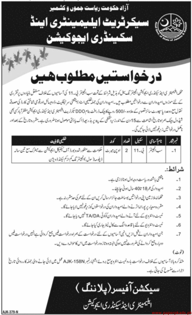 Elementary and Secondary Education Department Jobs 2020 Latest