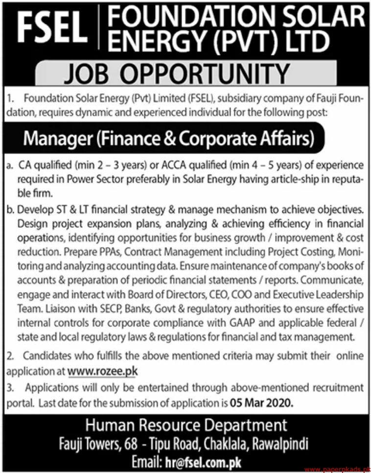 FSEL Foundation Solar Energy Pvt Ltd Jobs 2020 Latest