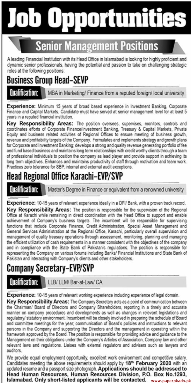 Financial Institution Islamabad Jobs 2020 Latest