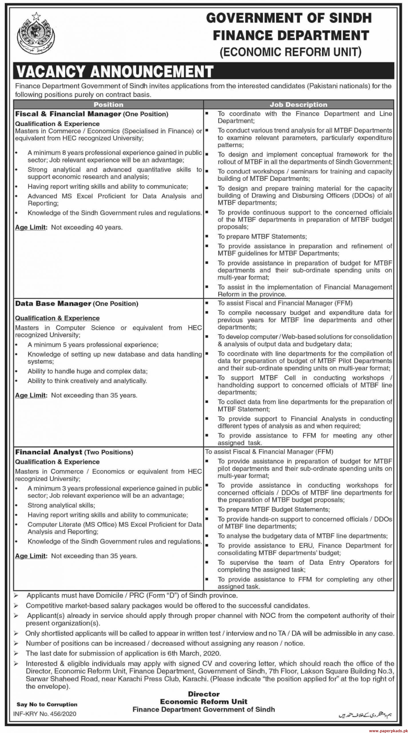 Government of Sindh Finance Department Jobs 2020 Latest