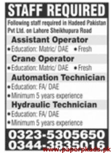 Hadeed Pakistan Pvt Ltd Lahore Jobs 2020 Latest