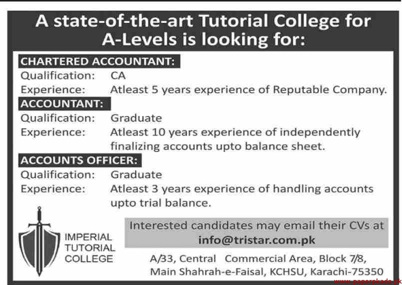 Imperial Tutorial College Jobs 2020 Latest