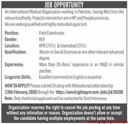 International Medical Organization Jobs 2020 Latest