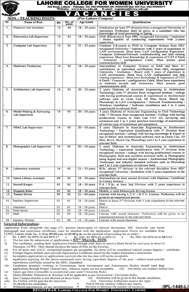 Lahore College for Women University Jobs 2020 Latest