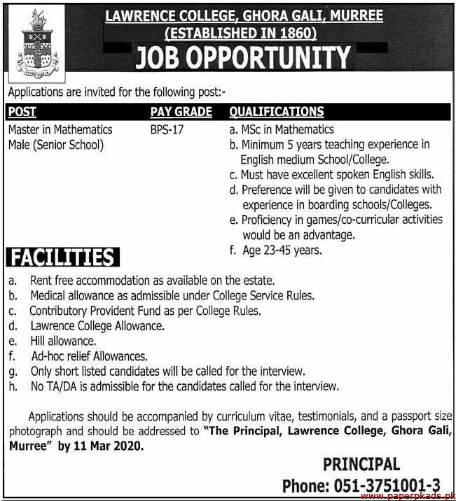 Lawrence College Ghora Gali Murree Jobs 2020 Latest