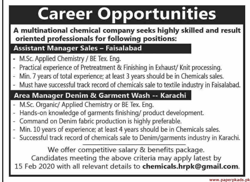 Multinational Chemical Company Jobs 2020 Latest