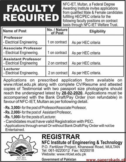 NFC Institute of Engineering & Technology Jobs 2020 Latest