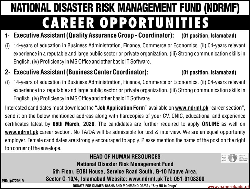 National Disaster Risk Management Fund NDRMF Jobs 2020 Latest