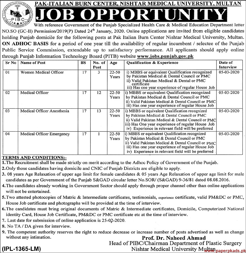 Pak Italian Burn Center Jobs 2020 Latest