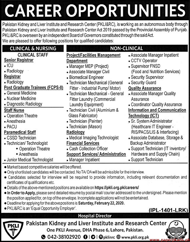 Pakistan Kidney and Liver Institution and Research Center Jobs 2020 Latest