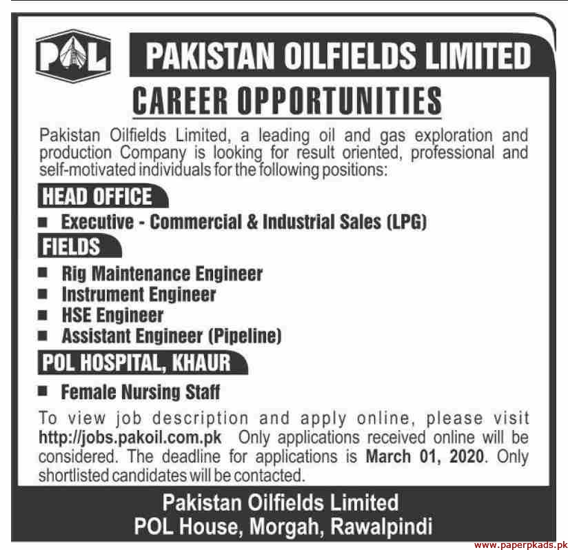 Pakistan OilFields Limited Jobs 2020 Latest