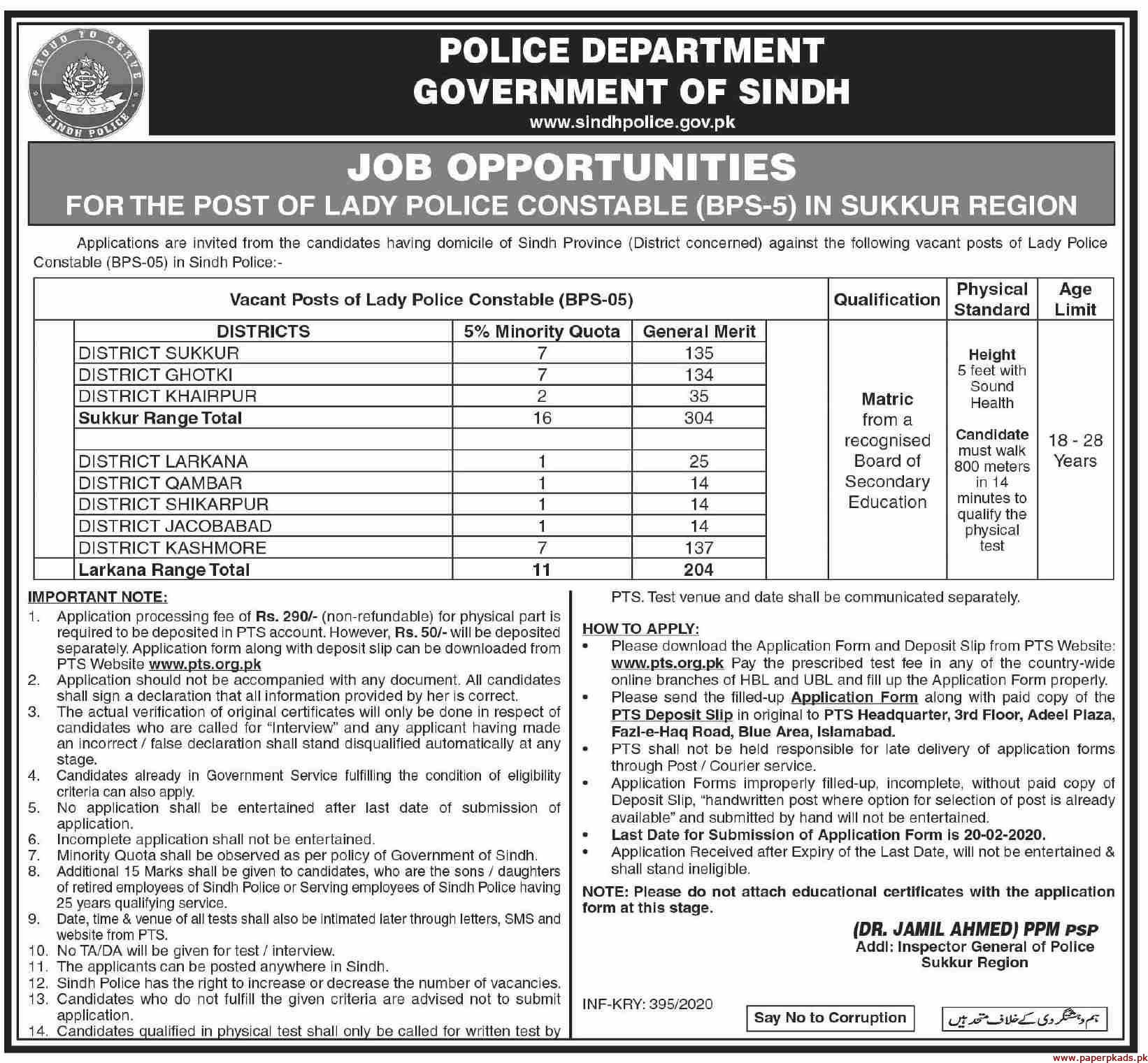 Police Department Government of Sindh Sukkur Jobs 2020 Latest