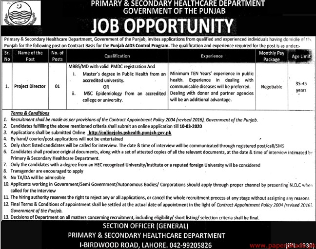 Primary & Secondary Healthcare Department Government of the Punjab Jobs 2020 Latest