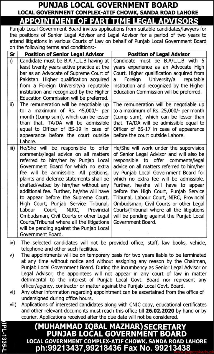 Punjab Local Government Board Jobs 2020 Latest