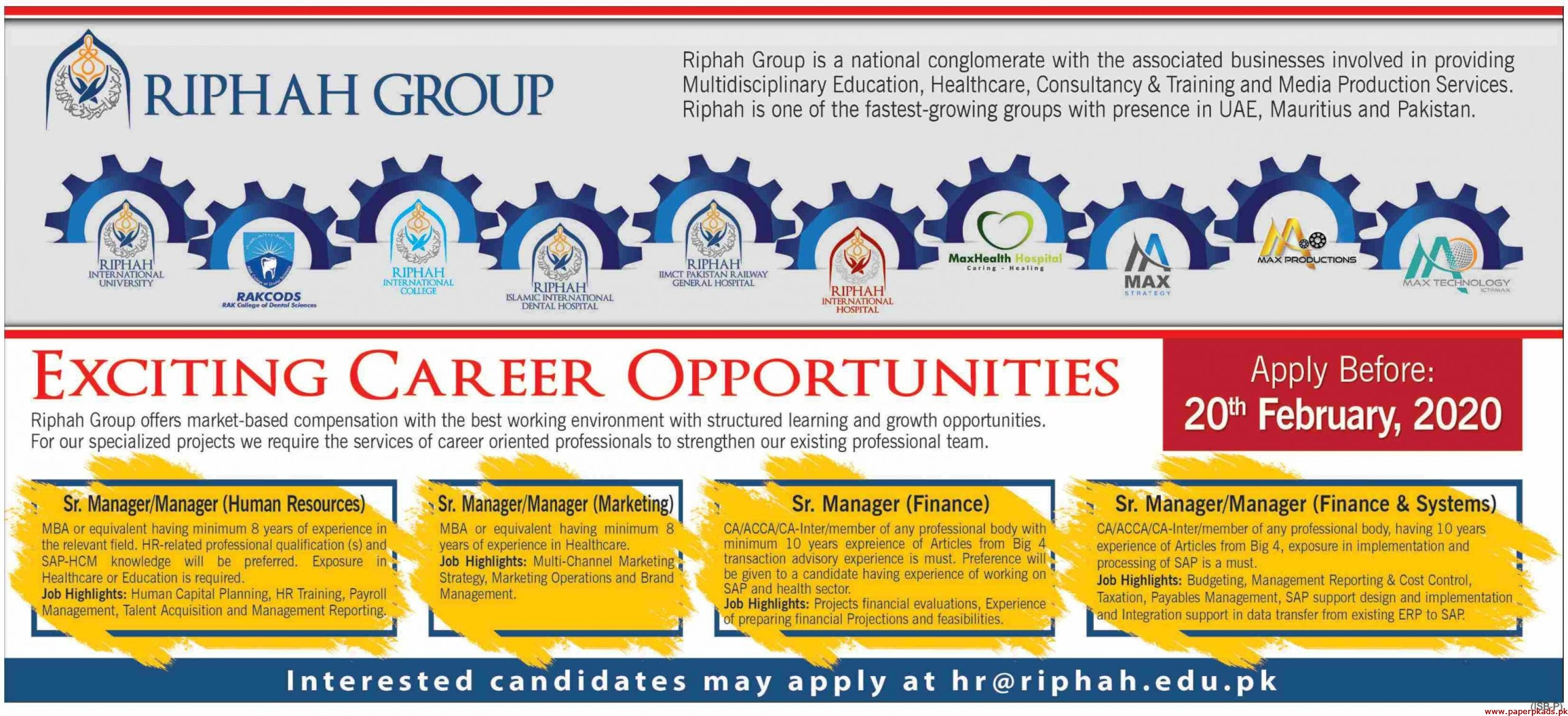 RIPHAH Group Jobs 2020 Latest