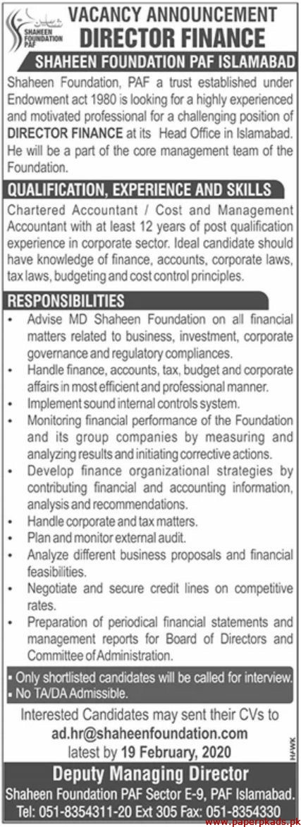 Shaheen Foundation PAF Jobs 2020 Latest