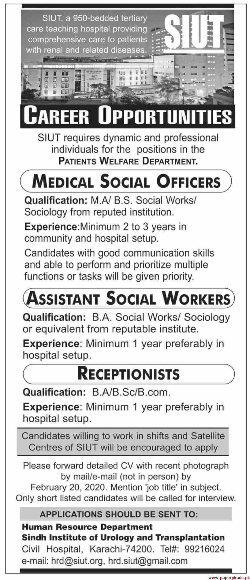 Sindh Institute of Urology and Transplantation Jobs 2020 Latest