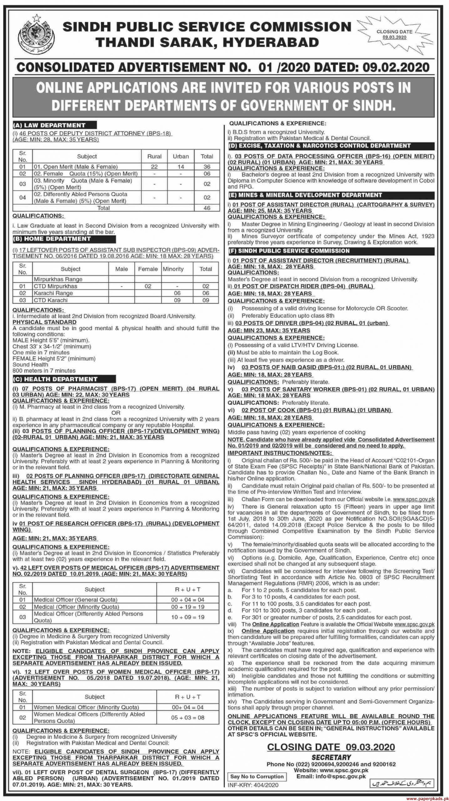 Sindh Public Service Commission SPSC Hyderabad Jobs 2020 Latest