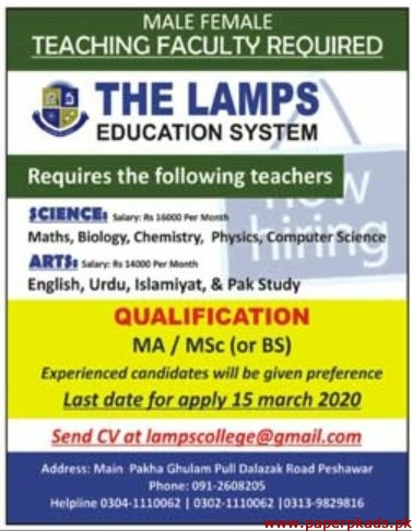 The Lamps Education System Jobs 2020 Latest