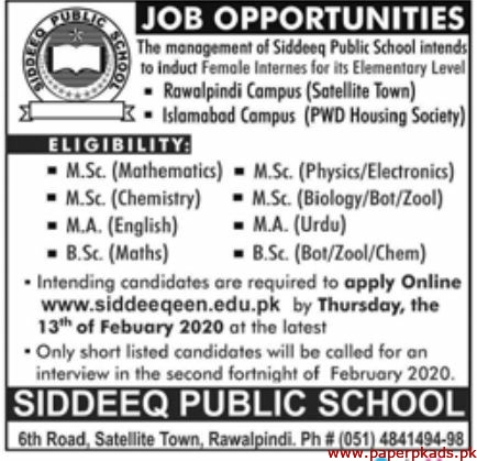 The Management of Siddeeq Public School Jobs 2020 Latest