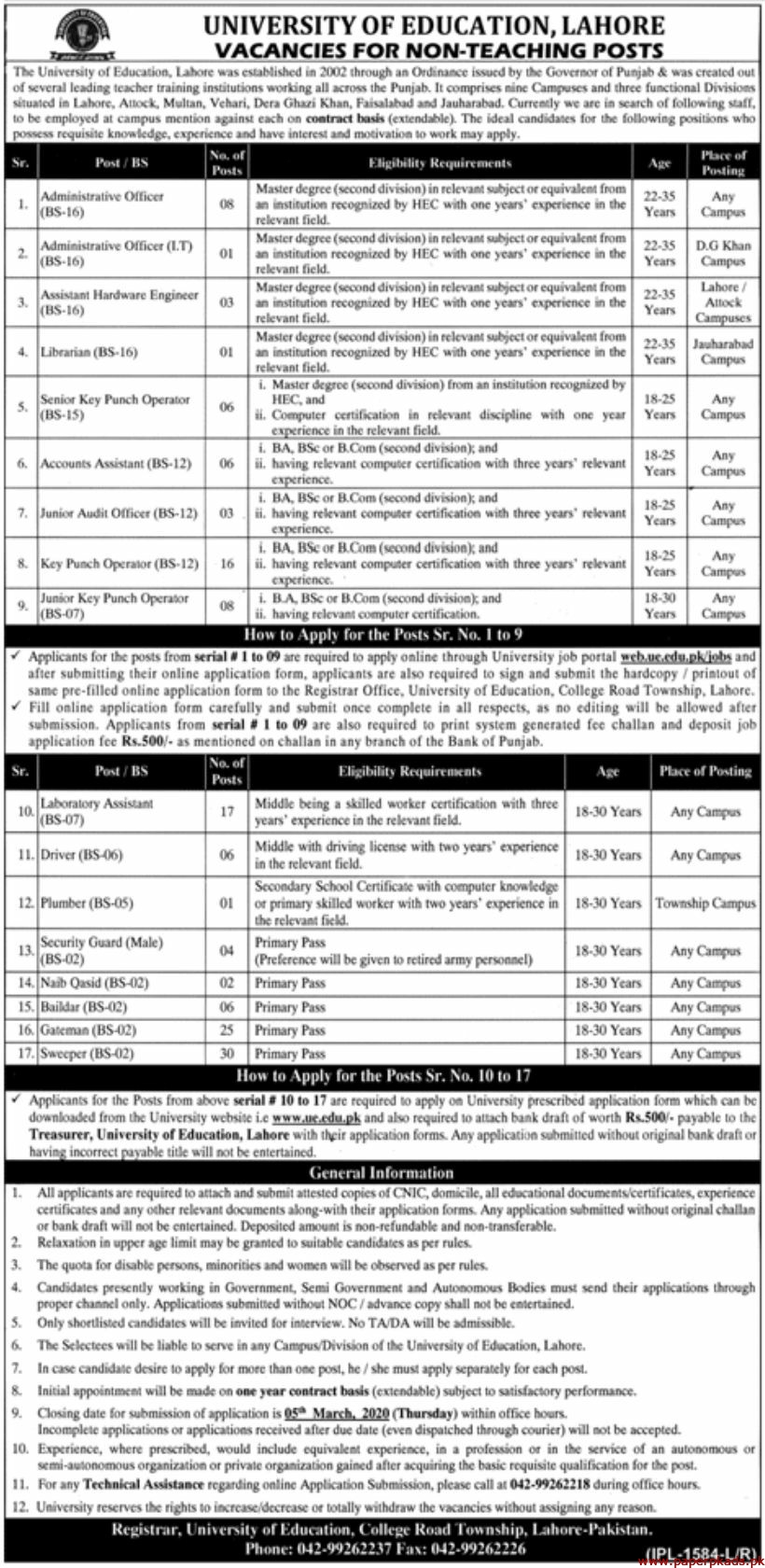 University of Education Lahore Jobs 2020 Latest