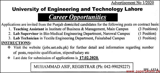 University of Engineering and Technology Lahore Jobs 2020 Latest