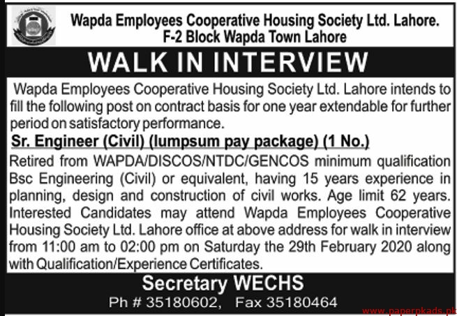Wapda Employees Cooperative Housing Society Ltd Jobs 2020 Latest