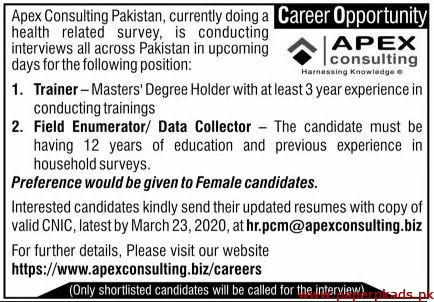 APEX Consulting Pakistan Jobs 2020 Latest