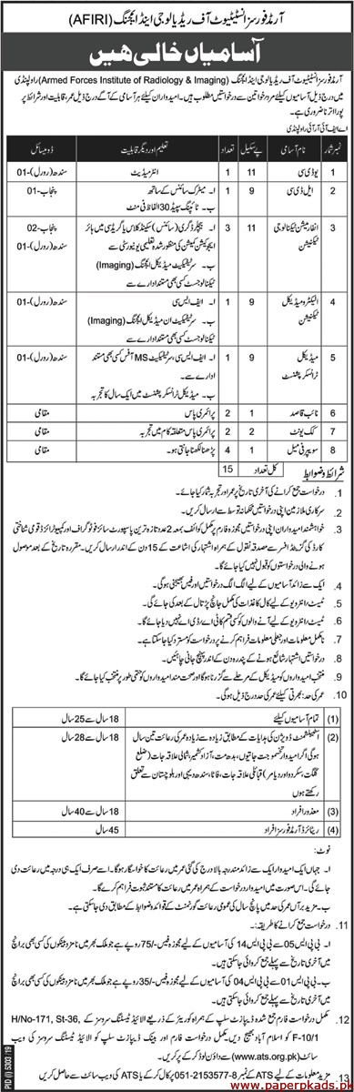 Armed Forces Institute of Radiology & Imaging AFIRI Jobs 2020 Latest
