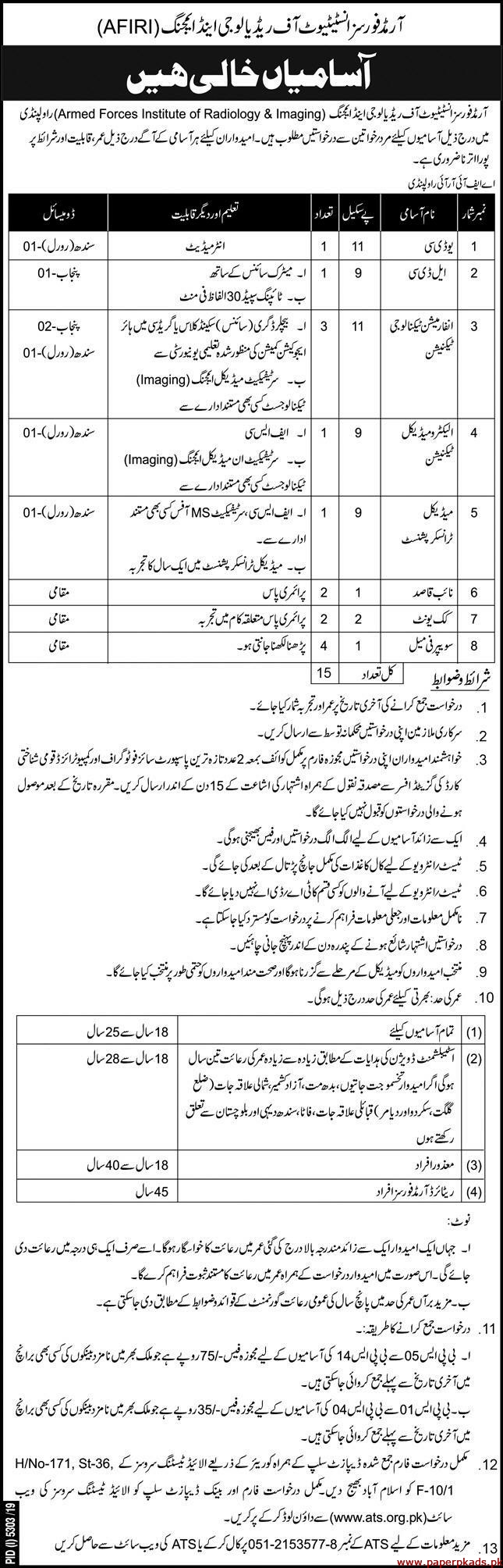 Armed Forces Institute of Radiology & Imaging Jobs 2020 Latest