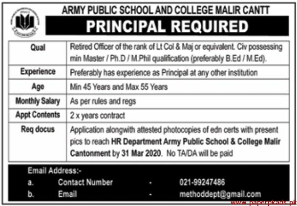 Army Public School and College Jobs 2020 Latest