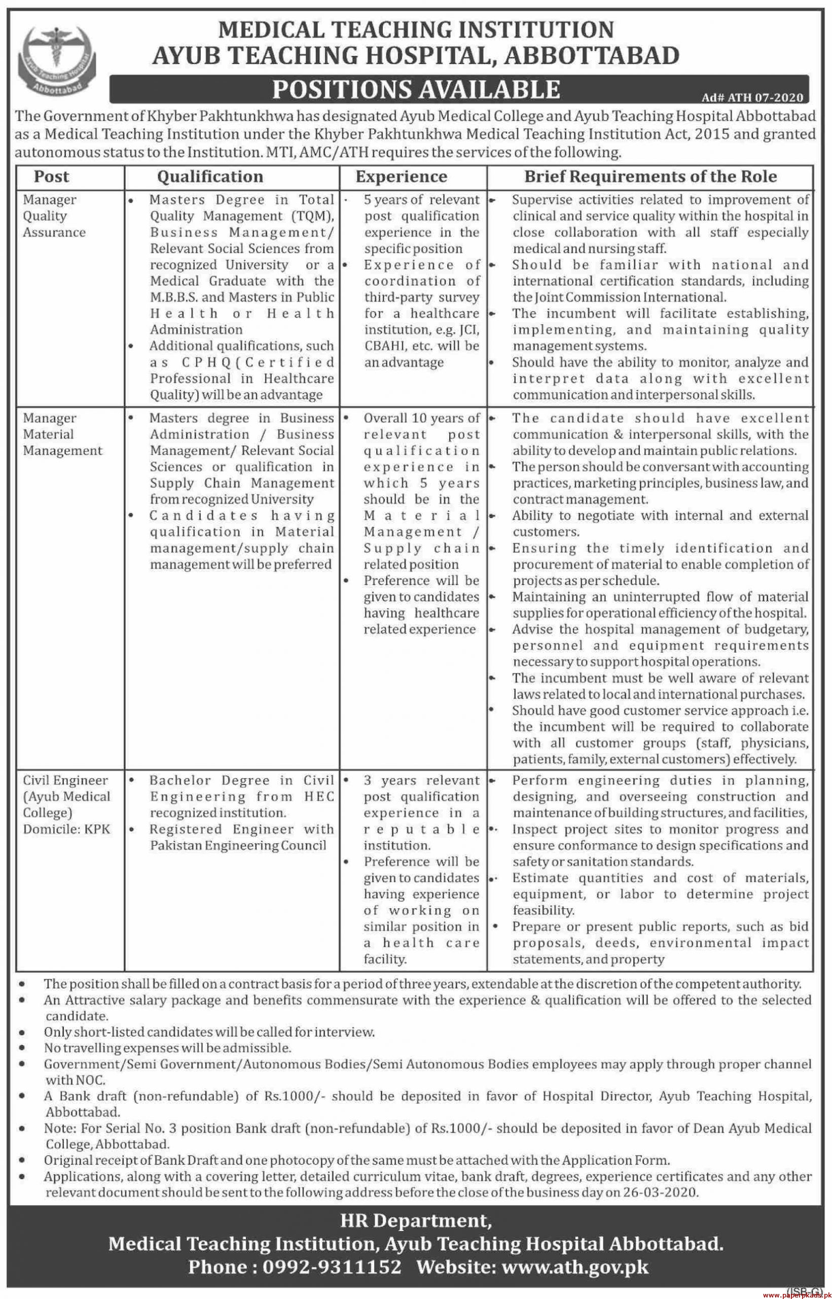 Ayub Teaching Hospital Jobs 2020 latest
