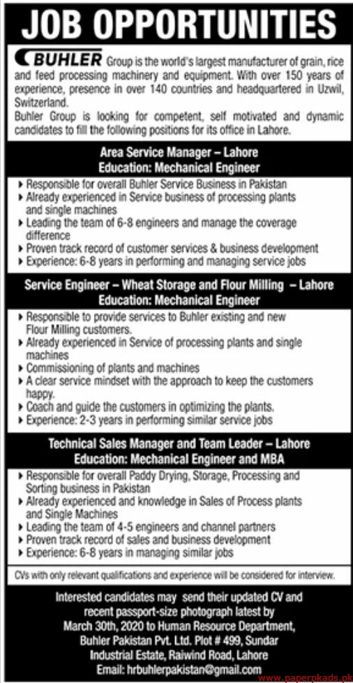 BUHLERS Group Jobs 2020 Latest