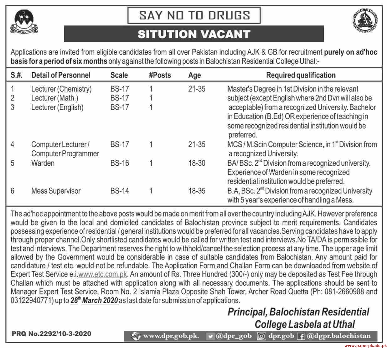 Balochistan Residential College Jobs 2020 Latest