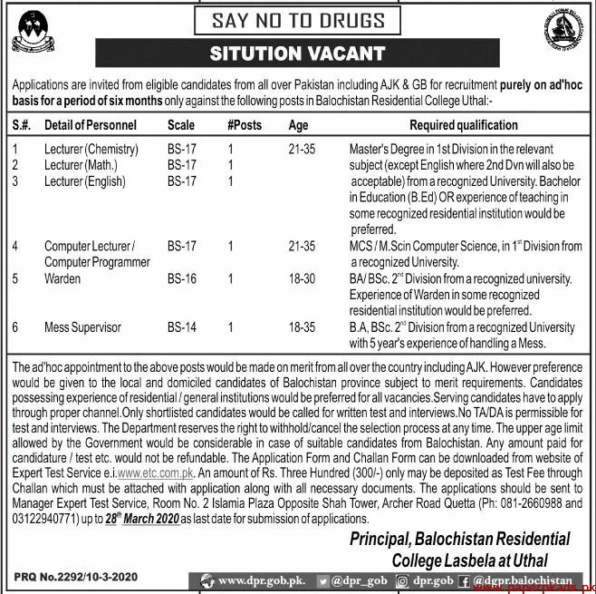 Balochistan Residential College Lasbela Uthal Jobs 2020 Latest