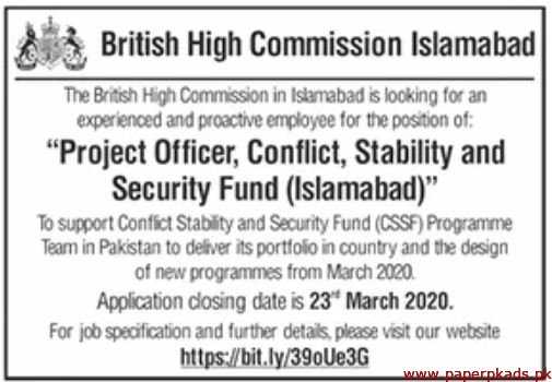 British High Commission Islamabad Jobs 2020 Latest