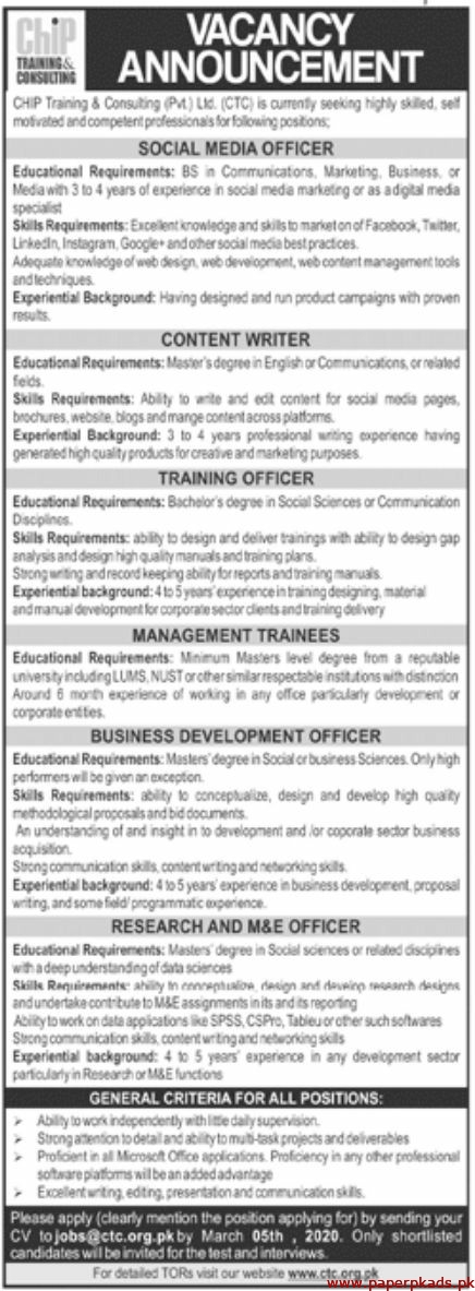 CHIP Training & Consulting Pvt Ltd Jobs 2020 Latest