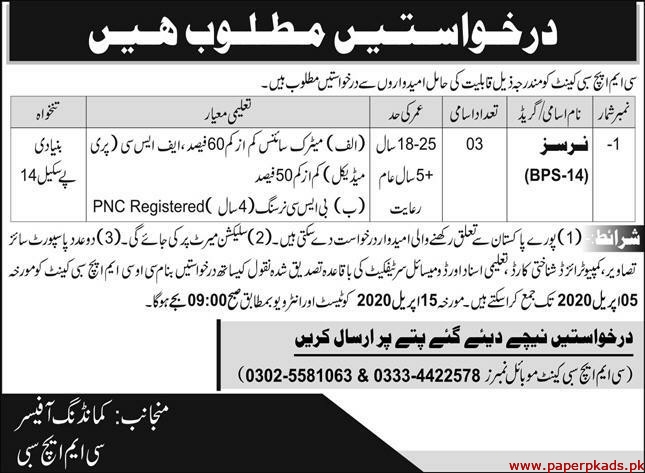 CMH Sibi Cantt Jobs 2020 Latest